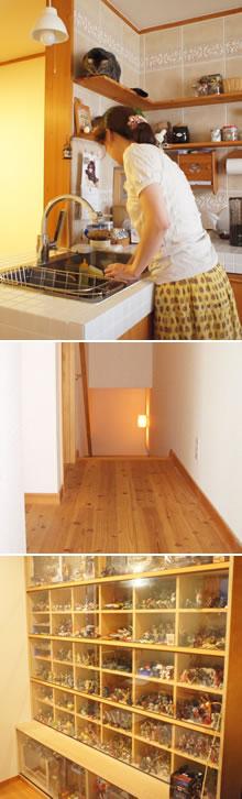 無垢材の床・飾り棚
