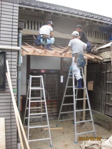 玄関,下屋下地,化粧垂木