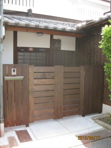 木製門扉,木塀,焼杉