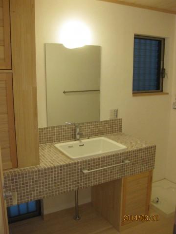 洗面 台,漆喰塗り壁
