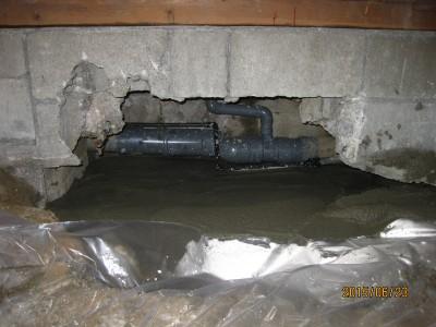 和室の改修,床下排水の漏水