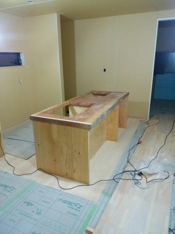 アフリカンチェリーのキッチン.造り付けキッチン,無垢天板