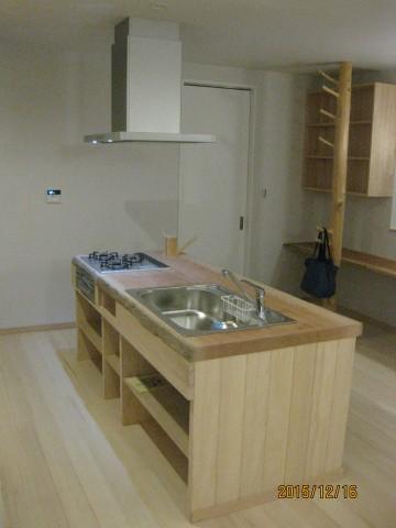 無垢天板,アフリカンチェリーのキッチン.造り付けキッチン