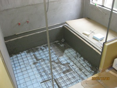 浴室土間断熱工事,スタイロフォーム充填